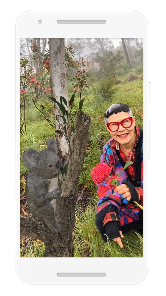 Woman looking at a koala in AR