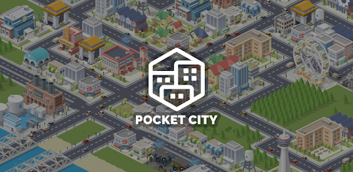 Pocket City mobile city-building game with a view of a customizable city with roads, bridges, buildings, stores, businesses, and schools, as well as residential, commercial and industrial zones.