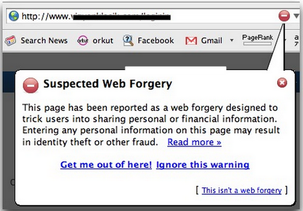 Suspected web forgery alert