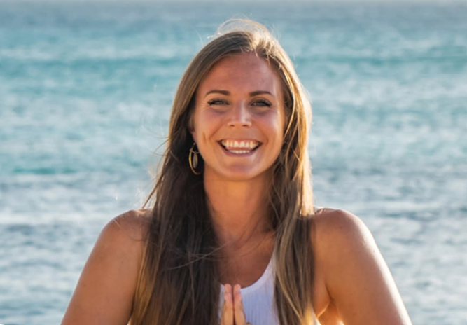 Rachel teaches yoga in-person and online from her studio in Aruba.