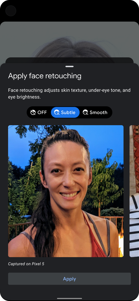 Animated gif showing Google Pixel's face retouching options (OFF, Subtle, or Smooth) during photo capture