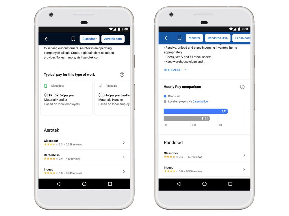Des salaires dans Google for Job