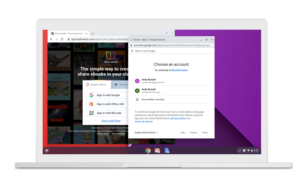 Screengrab of Family Link and G Suite for Education accounts on Chromebooks