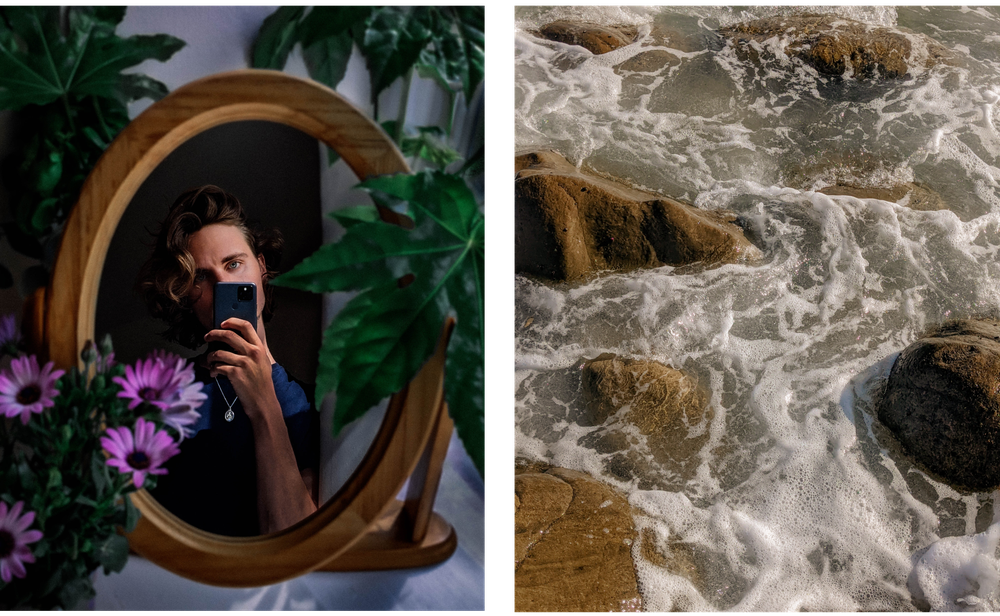 Two photographs side by side the first is of a person looking into a mirror surrounded by plants and flowers. The other is a close up of waves on the beach.