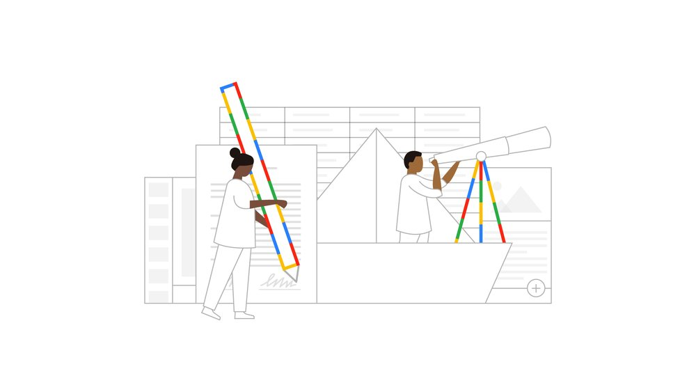 An illustration showing a Black woman holding an oversize rainbow pencil signing a contract, and a Black man using a telescope on a rainbow stand