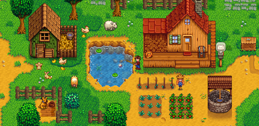 Stardew Valley open-ended farming RPG is on your mobile device with houses, farms, ponds, and animals.