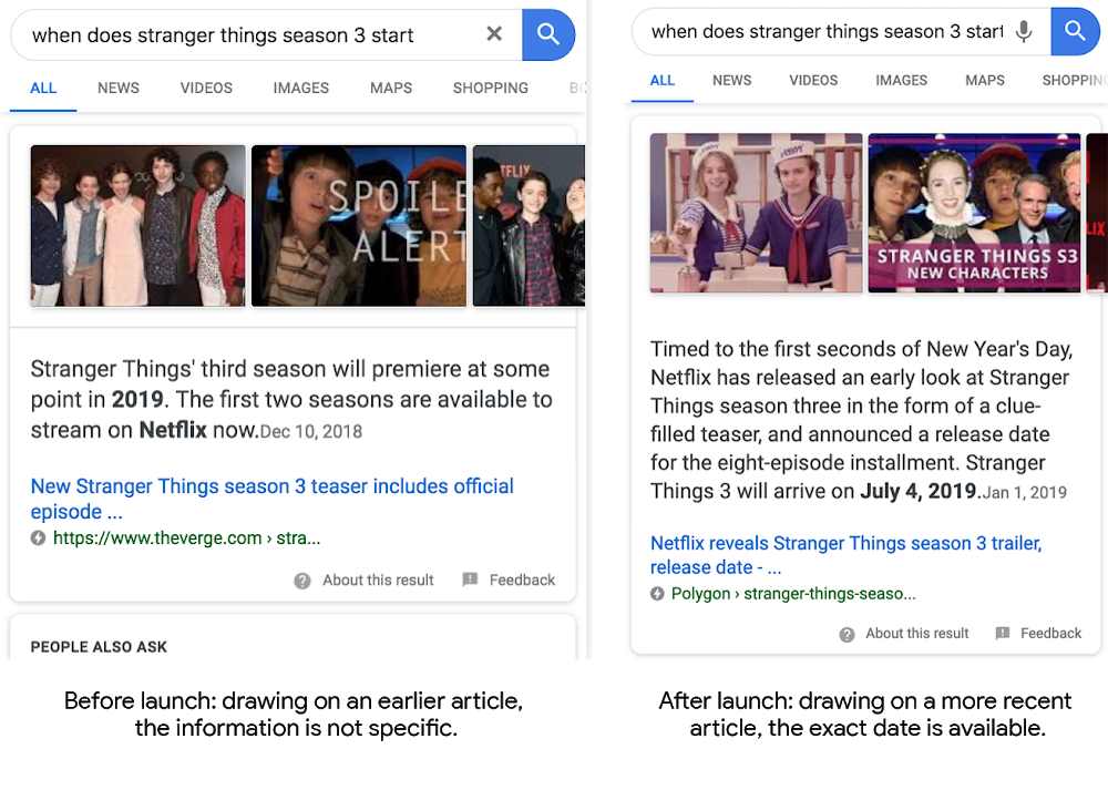 Search featured snippet highlighting information about the timing of the third season of Stranger Things
