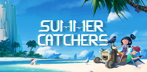 Summer Catchers mobile game image depicting characters - one female and one male - sitting in a make-shift vehicle on a desolate island beach with a white seagull and crow by their side.