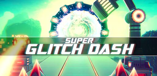 Super Glitch Dash mobile game image depicting a bright, neon green and purple entry portal into a Super Glitch Dash runner track