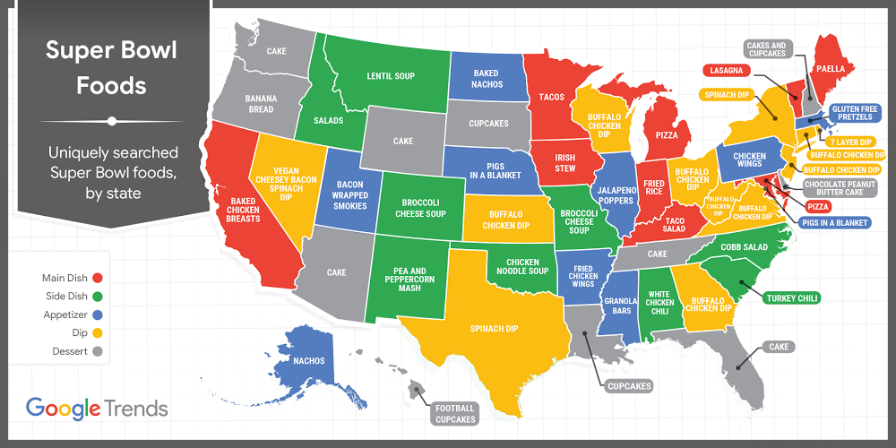 Map of Super Bowl Foods State-by-state