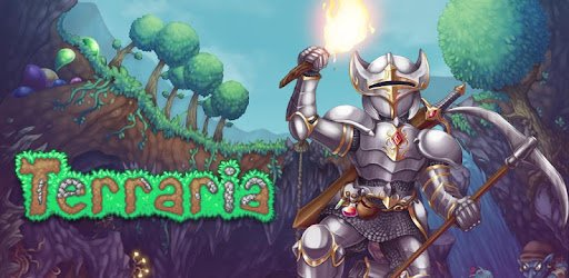 Terraria multiplayer mobile game featuring underground exploration, trees, dirt, gems, creepy things, goblins and a heroic knight in shining silver armor carrying a pickaxe and torch.