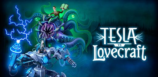 Tesla versus Lovecraft mobile game image of fictional depictions of enigmatic inventor Nikola Tesla fighting famed horror author H.P. Lovecraft