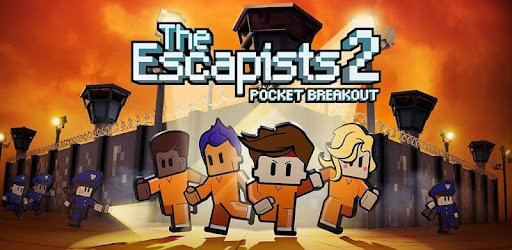 The Escapists 2: Pocket Breakout mobile game featuring a jailbreak with four different cartoon characters escaping a prison while solving puzzles and avoiding capture.
