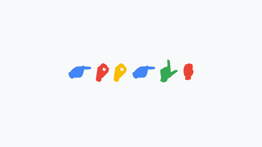 Google in american sign language displayed in the alternating google colors of blue, red, yellow, blue, green, and red