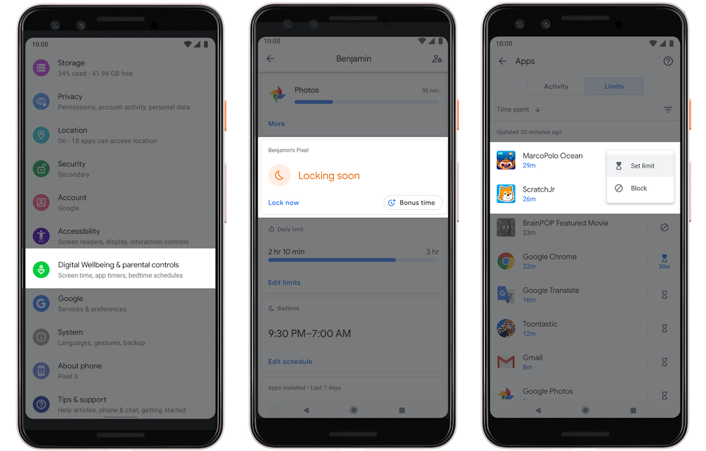Phone screens showing new Family Link controls in Android Q.