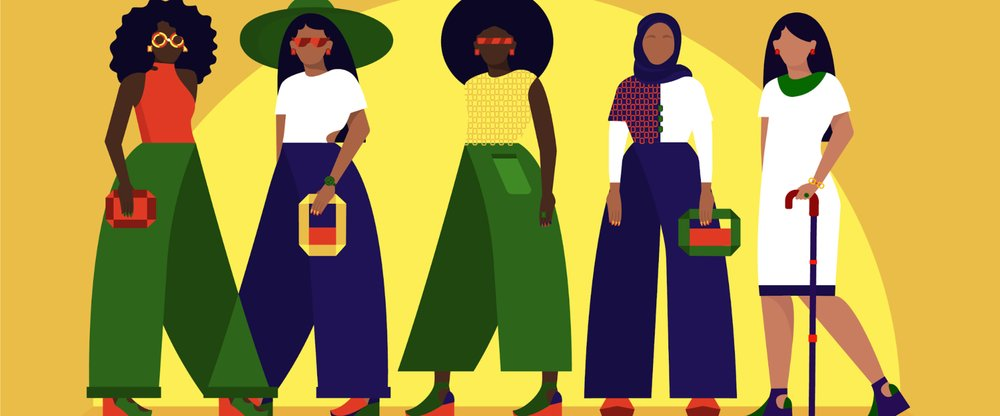 An illustration of five different women of color in front of a yellow background