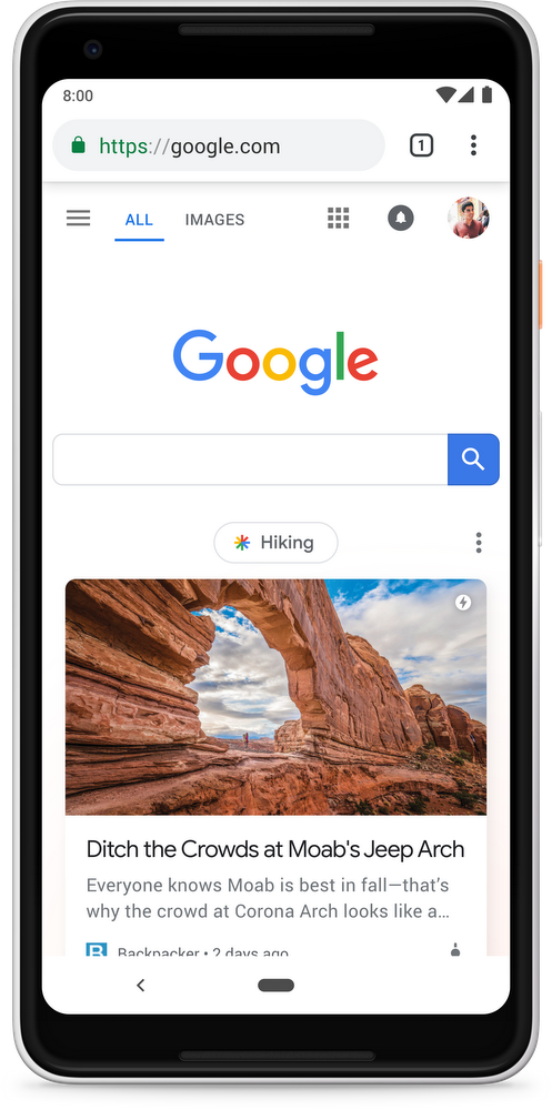 google.com on a simulated phone displays Discover beneath it.