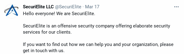 Tweet from SecuriElite announcing new company