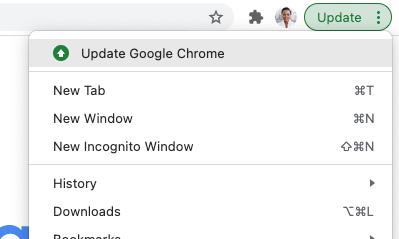 Screenhot des Chrome Update Buttons