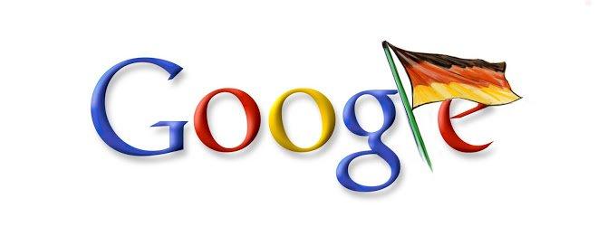 """Das Google Logo mit einer Deutschland-Fahne als """"l"""""""