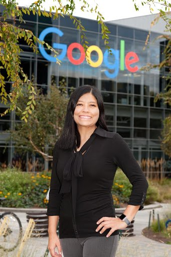 Rosalva standing in front of a Google sign