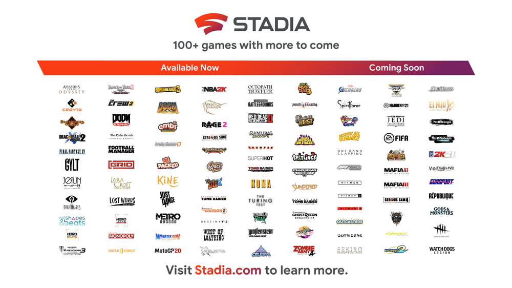 Stadia Games Available Now and Coming Soon