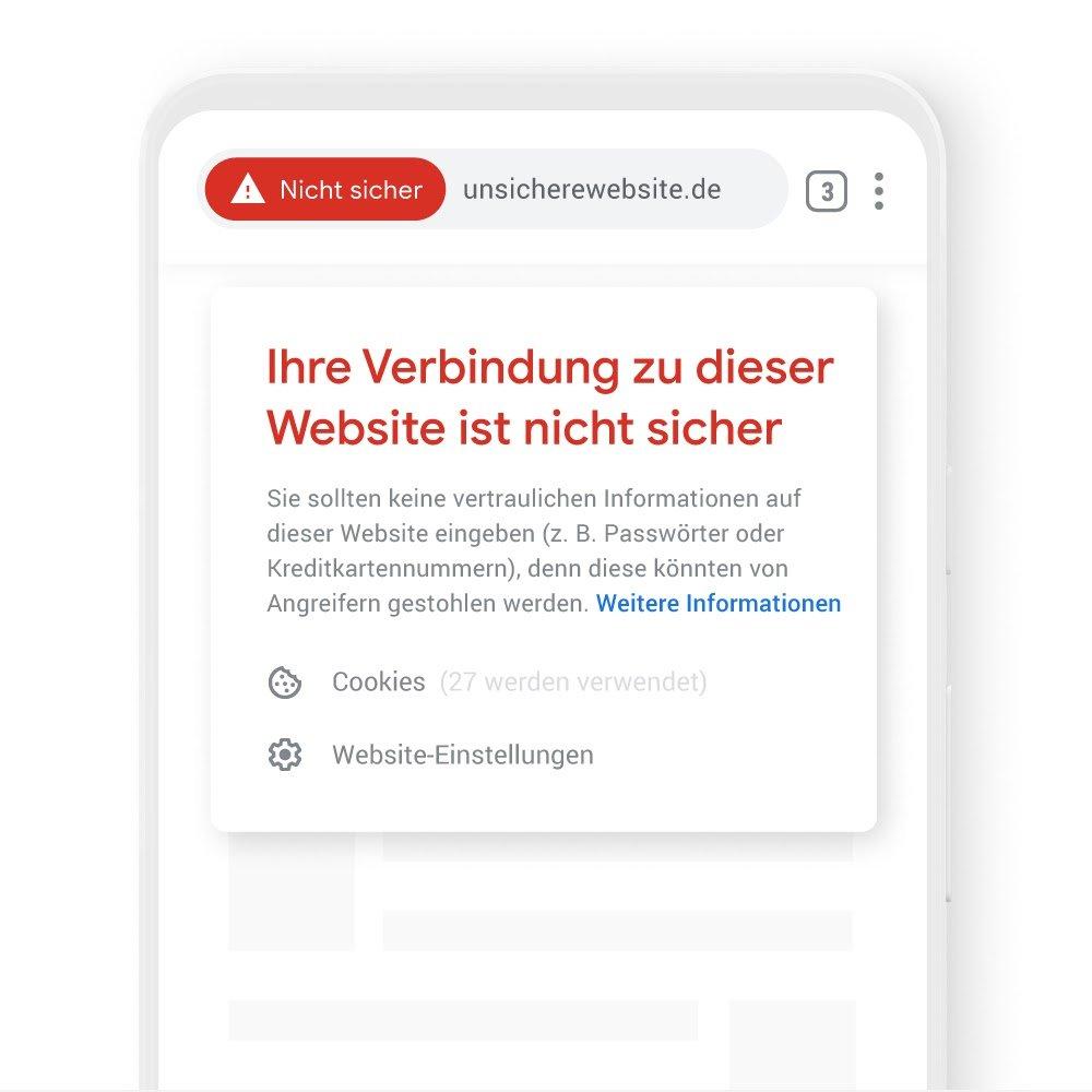Eine Grafik zeigt eine Sicherheitswarnung im Chrome Browser