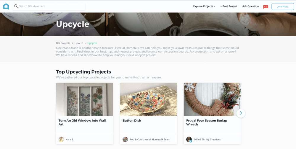 The upcycle project page from Hometalk's website