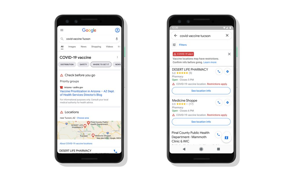Two phones displaying the locations of vaccination sites in Search and Maps results