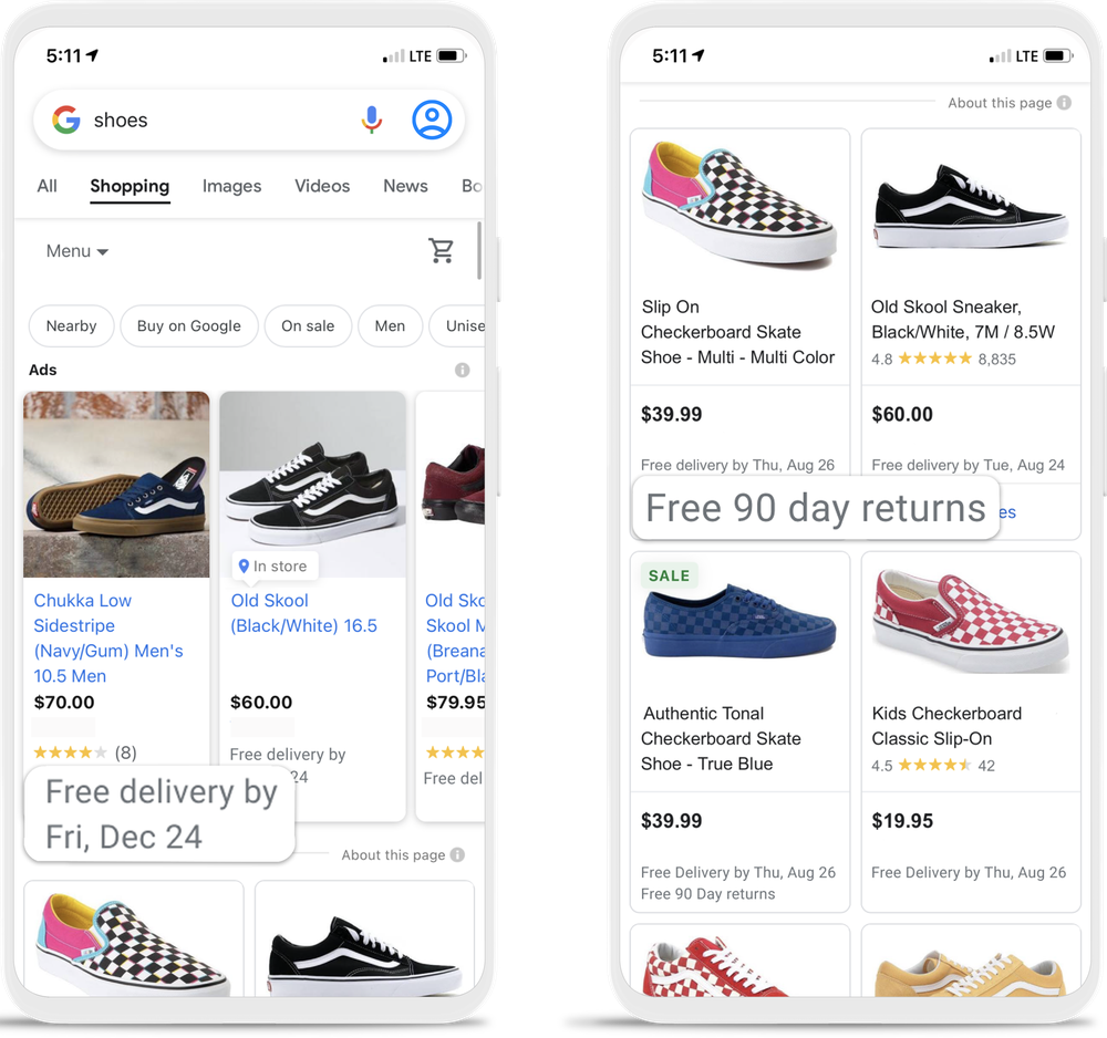 """Two phones are depicted showing shoes for sale on the Shopping tab. The phone on the left highlights a pair and reads """"Free delivery by Fri, Dec 24"""" and the one on the right highlights a pair and reads """"Free 90 day returns."""""""