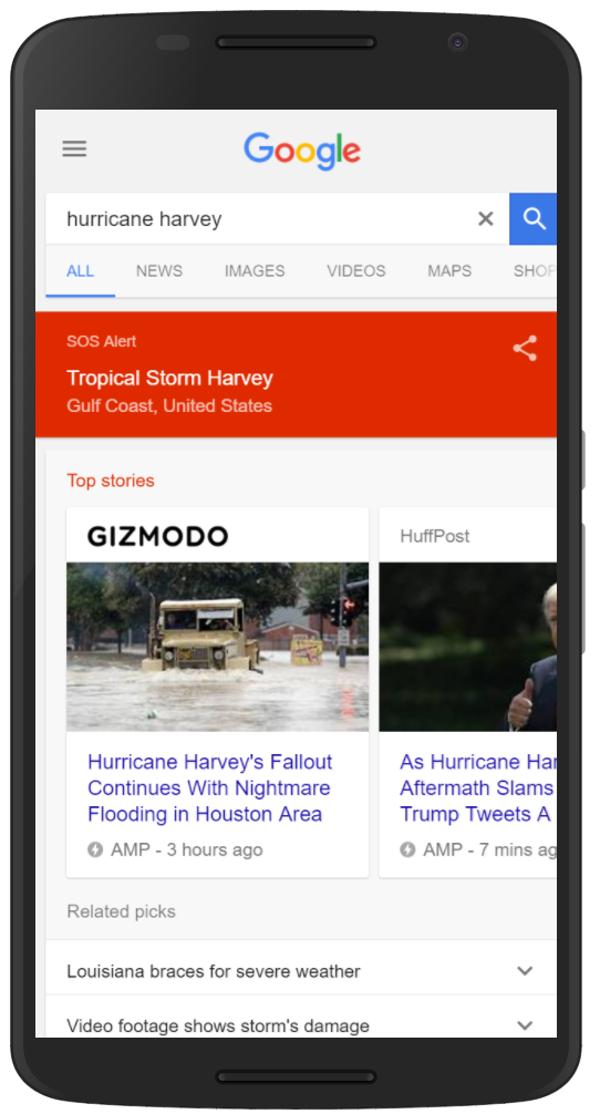 Google SOS Alert for Hurricane Harvey
