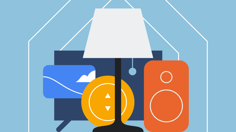 Abstract illustration of smart home products including a television, a thermostat, a lamp and a remote.