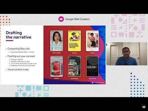 "Shishir wears a blue shirt and virtually presents a slide titled ""Drafting the narrative."""