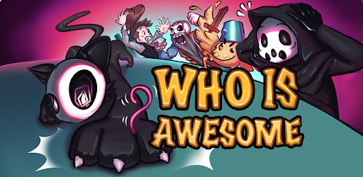 Who is Awesome mobile game image depicting characters from four different games including Reaper from Peace Death!, Vladimir from DRAW CHILLY, Knight from OH MY GOD, LOOK AT THIS KNIGHT!, and the Cowboy from Gun Done.