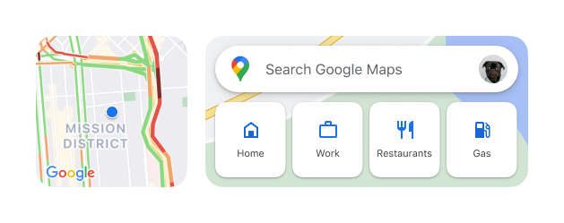 An image of the new Google Maps widgets