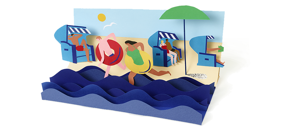 Das Google Logo als Strandszene