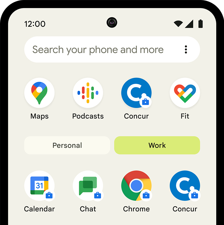 Image of work profile on Android device