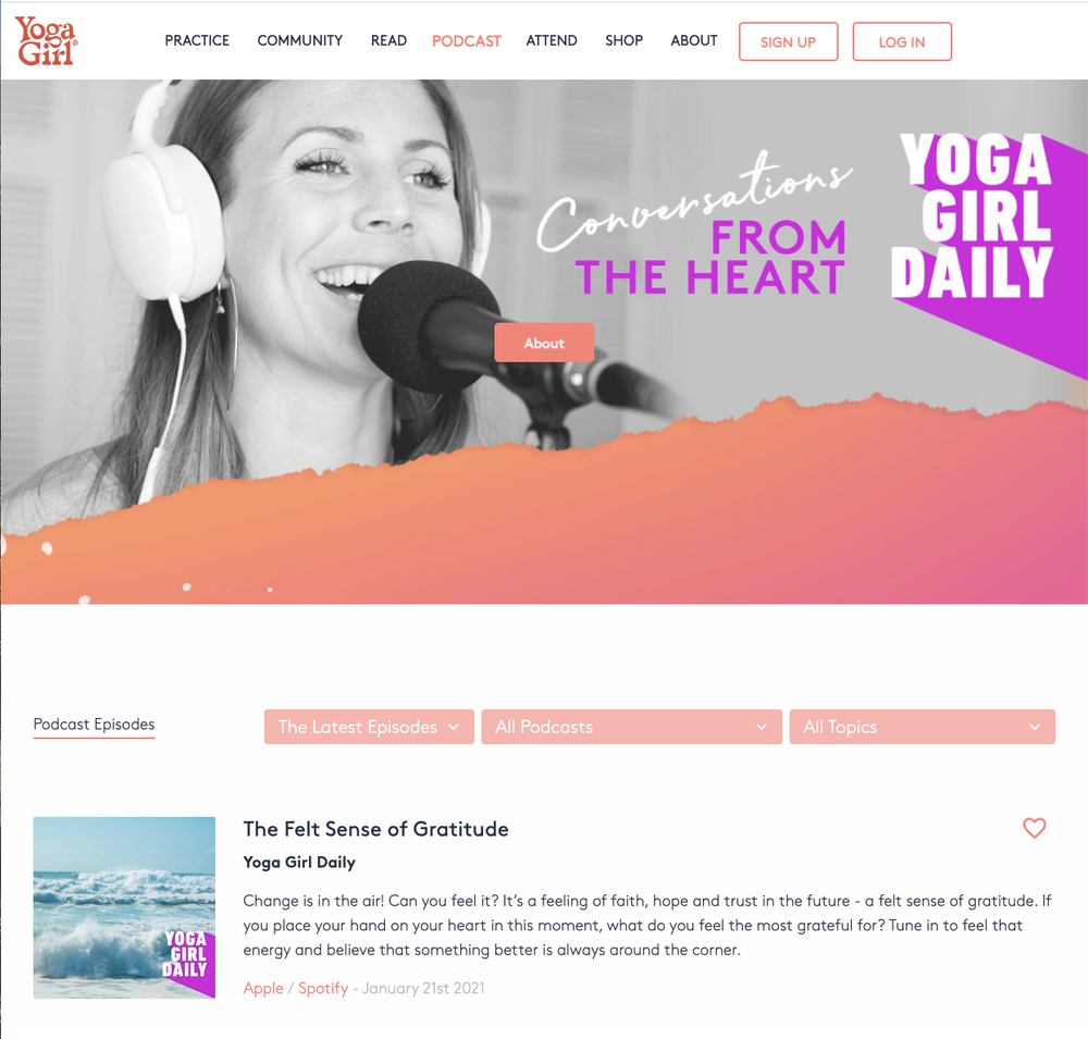 Rachel's Yoga Girl Daily podcast covers yoga, meditation, inspiration and more.