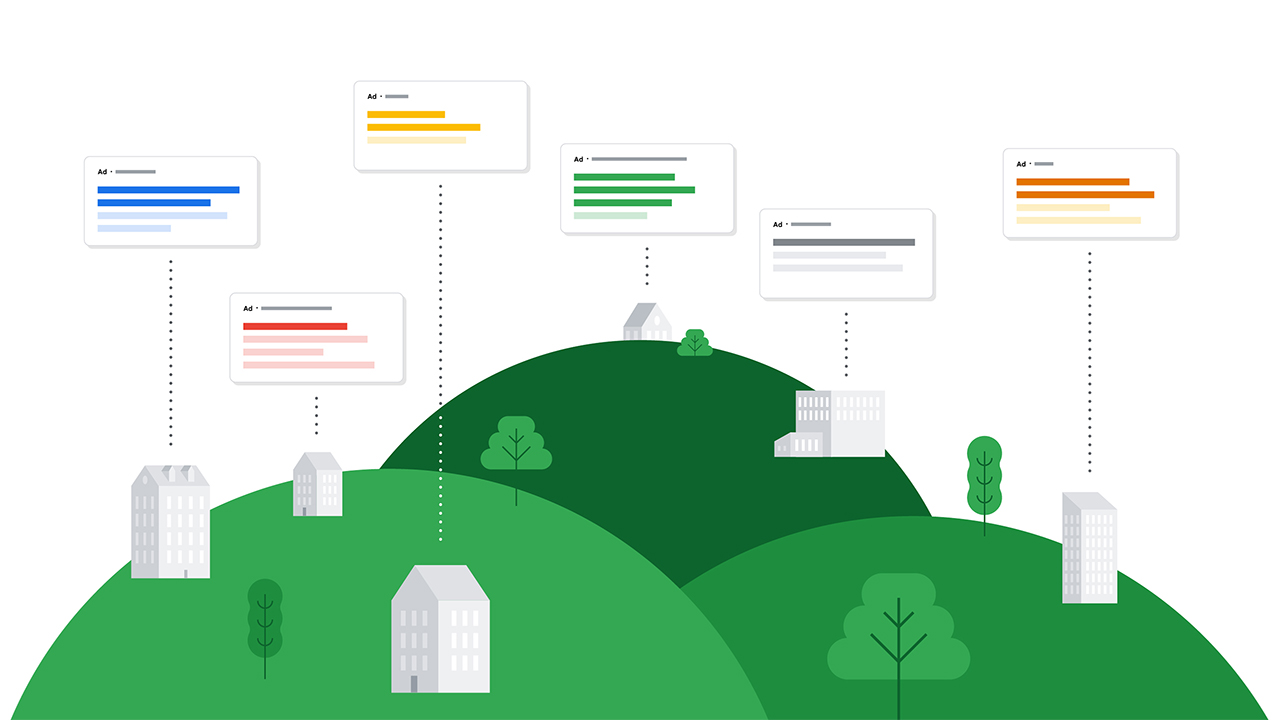 Icons representing a variety of ads on the web emerge from a series of buildings sitting against a landscape of green hills.