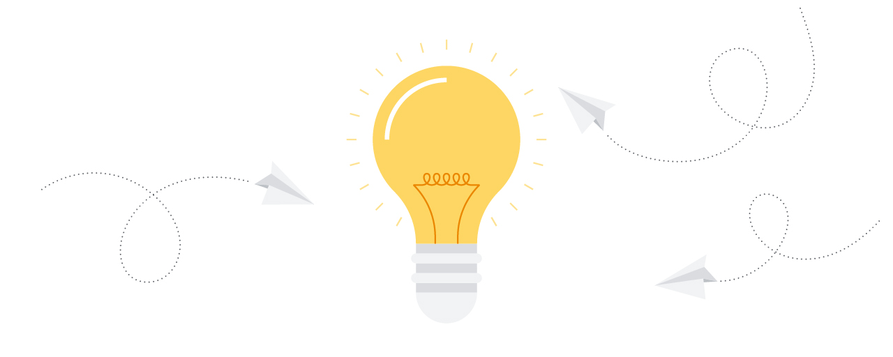 A lightbulb representing innovation, surrounded by three paper airplanes in flight.