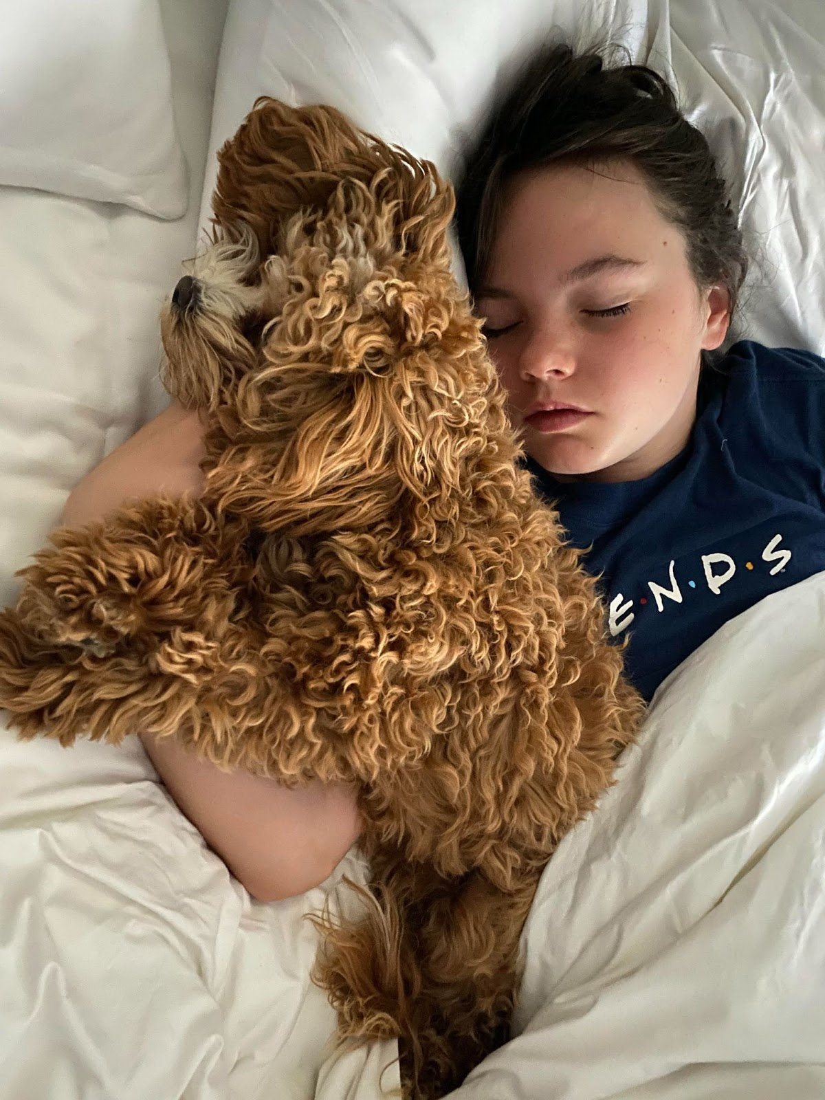 Angela's daughter and fluffy brown puppy asleep