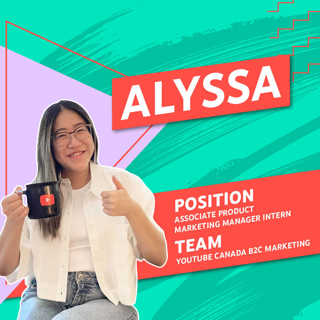 Photo of Alyssa holding a YouTube branded mug and doing a thumbs-up pose against a green and pink patterned background.