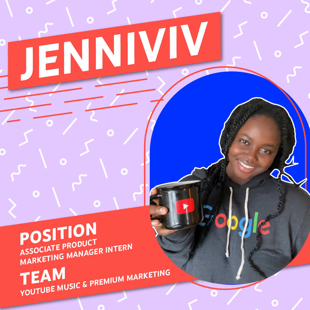 Photo of Jenniviv holding a YouTube branded mug and wearing a Google sweatshirt on a pink patterned background