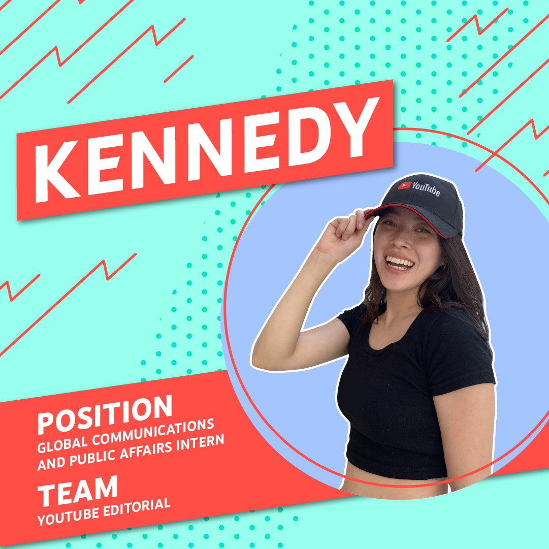 Photo of Kennedy wearing a YouTube branded baseball cap against a sky blue and aqua patterned background.