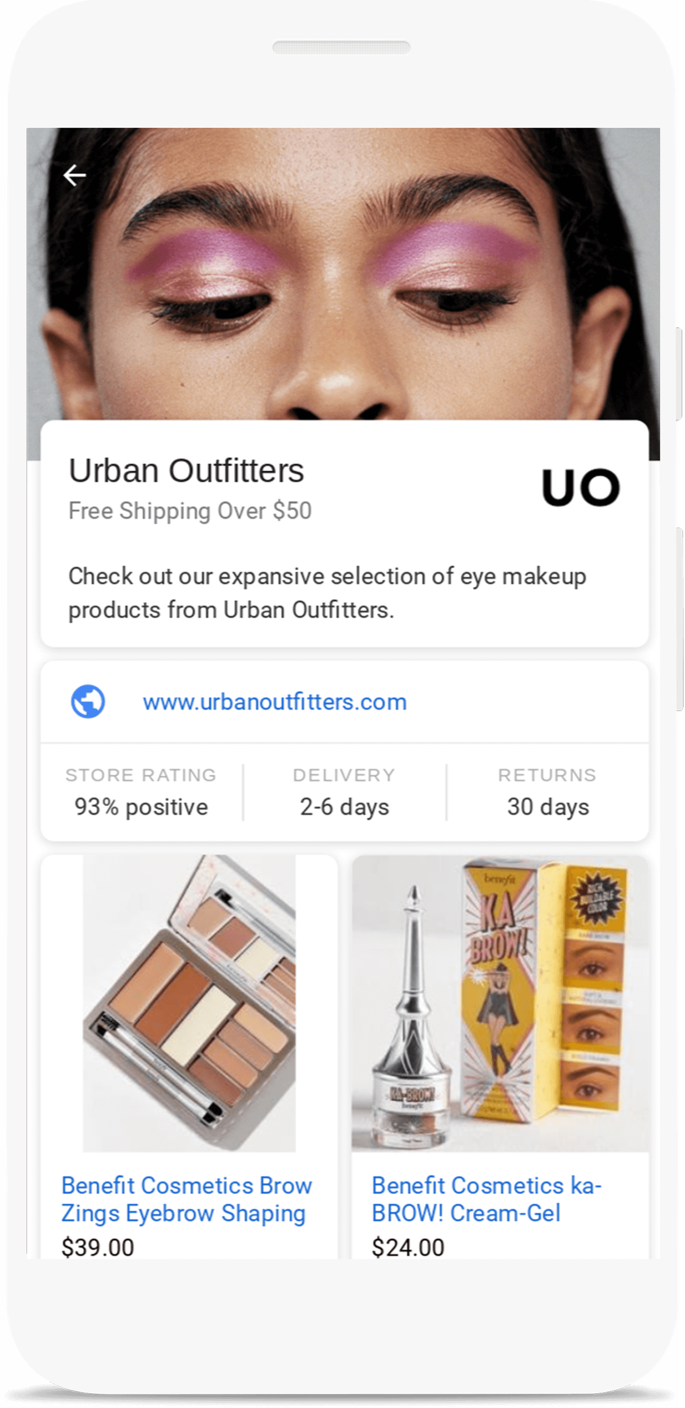 Urban Outfitters Showcase Shopping ad for beauty