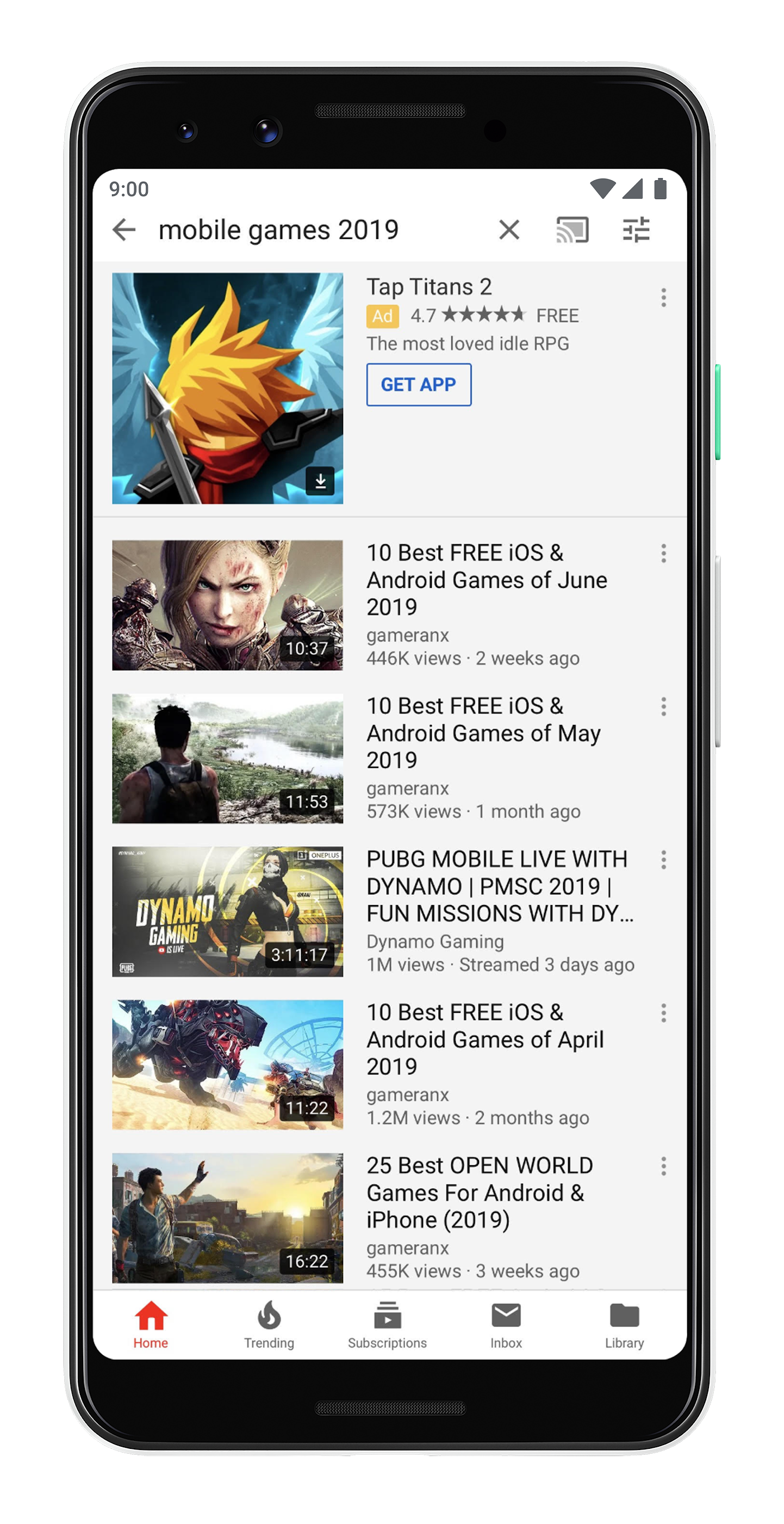 App ad for Tap Titans 2 in YouTube Search