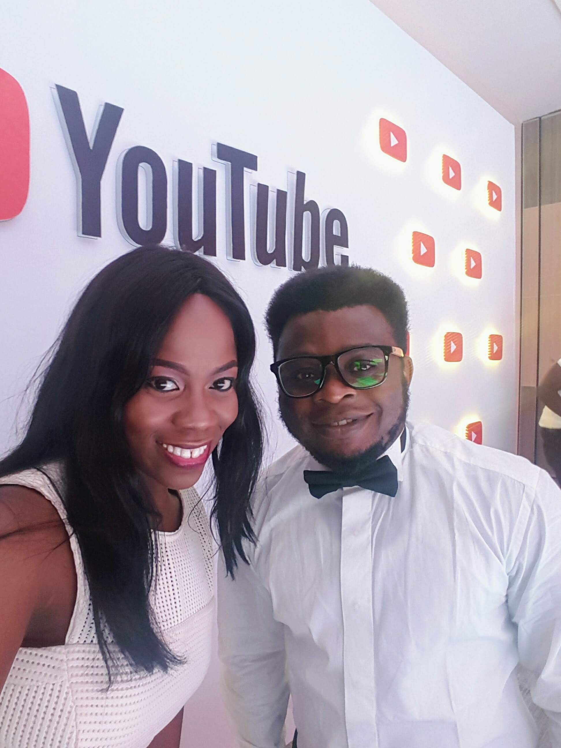 Addy and Taiwo picture at a YouTube Creator event in 2019