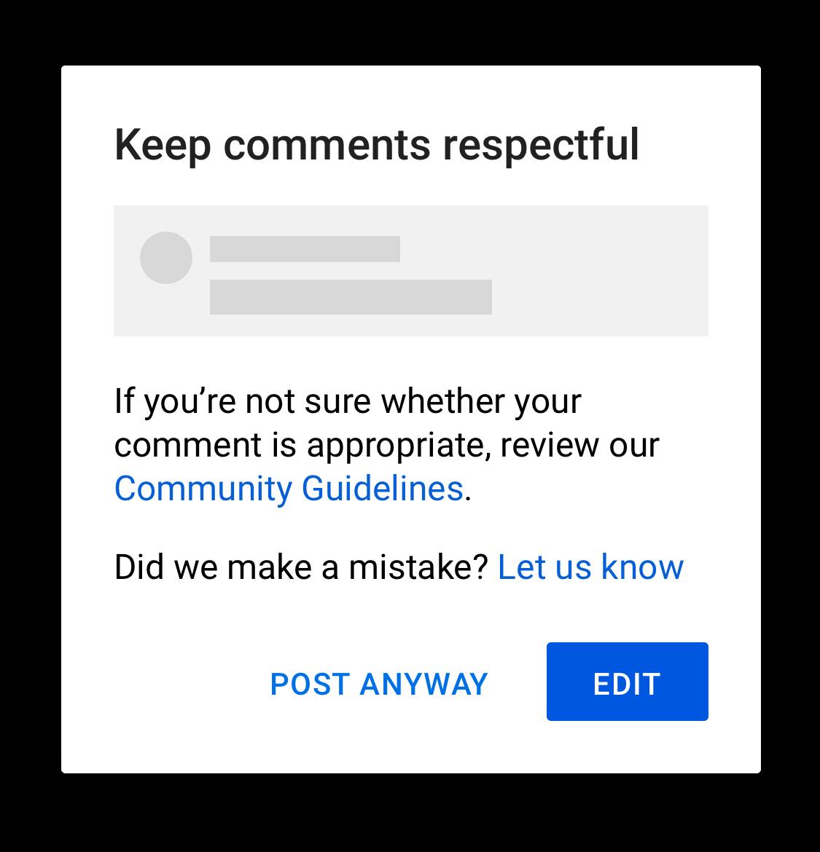 keep comments respectful screenshot