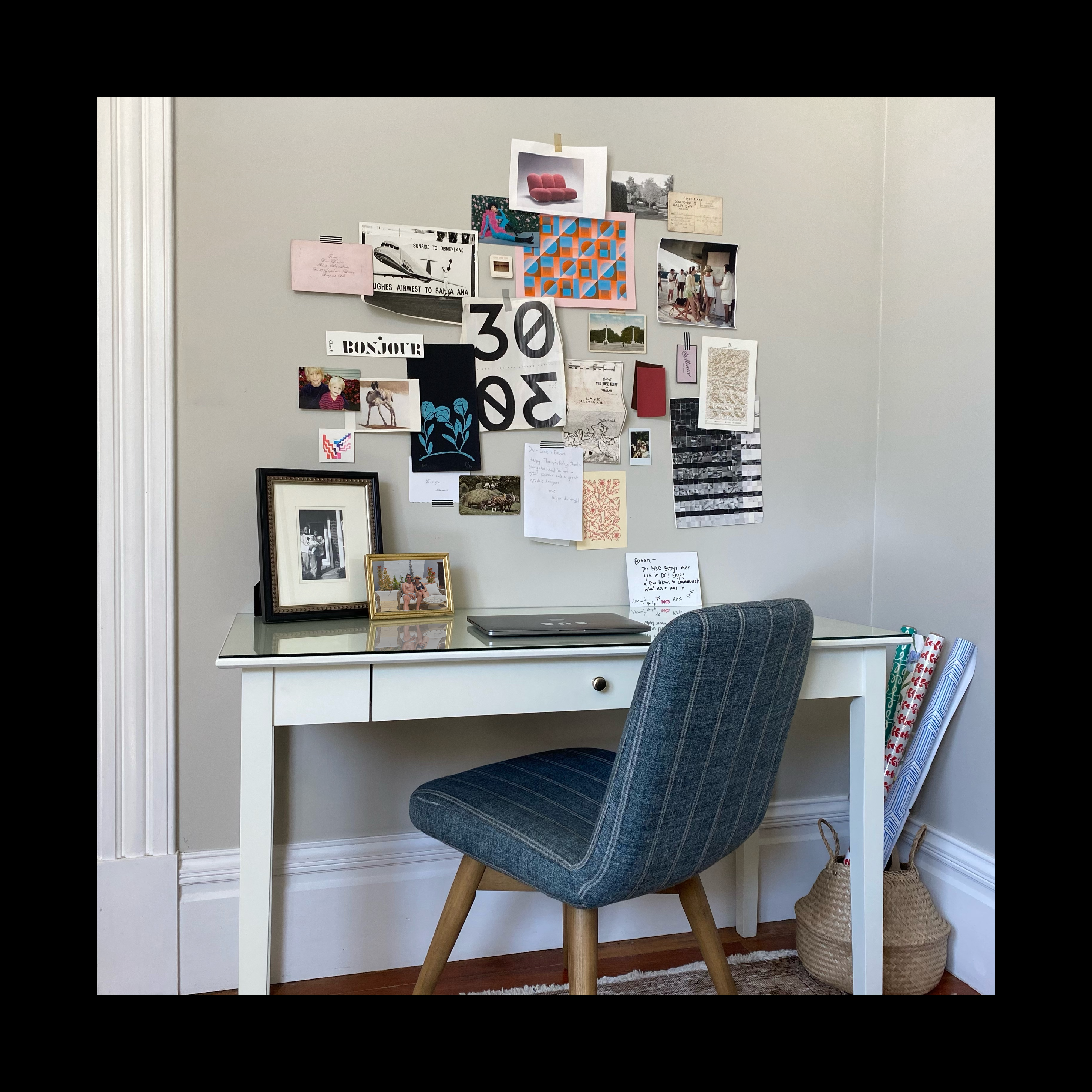 My desk at home. I love an IRL Pinterest board. Tactile things feel especially important these days.