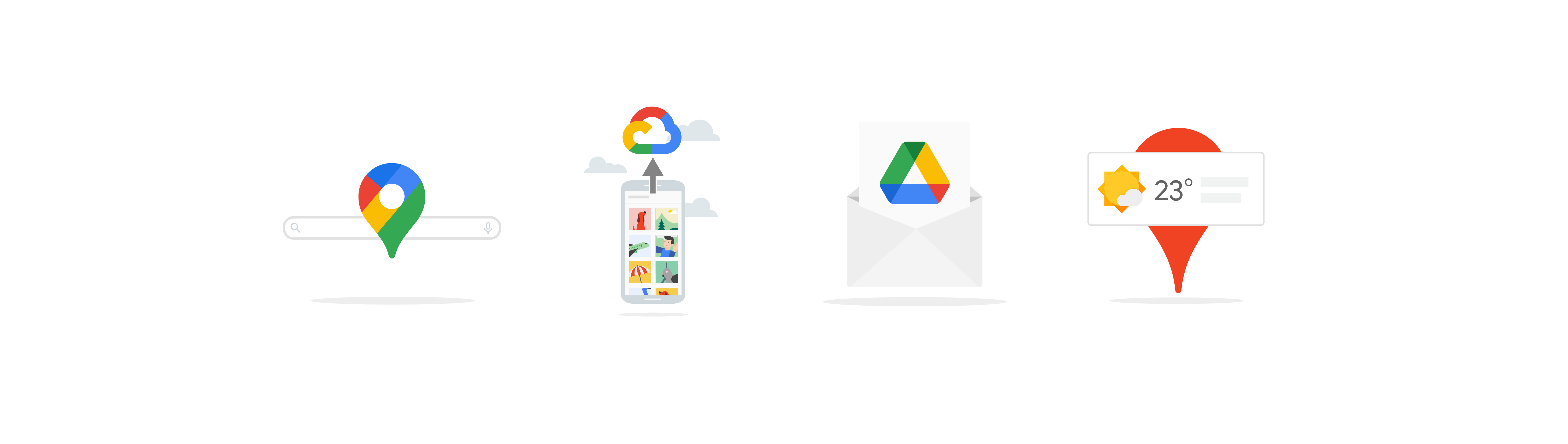 Four illustrations showing: the Google Maps logo on a search box, a mobile phone displaying photos and a Google Cloud icon (representing uploading to the cloud), an envelope open to show a piece of paper with the Google Drive icon, and a location pin with